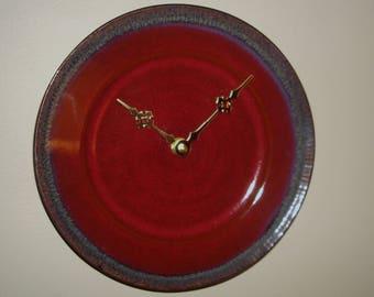 Deep Crimson Stoneware Wall Clock, 8-1/2 Inch Plate Wall Clock, Glazed Stoneware Clock, Wine Red Kitchen Clock, Unique Wall Clock - 2439