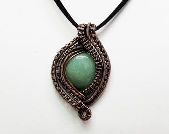 Wire Wrapped Pendant with Aventurine and Copper