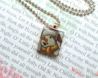 Snowman Scrabble Necklace, Handmade Scrabble Tile Pendant, Wood Pendant, Scrabble Jewelry, Snowman Charm, Tiny Jewelry, Snowman Lover Gift