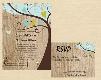 Rustic Wedding Invitation, Love Bird Wedding Invitation,Rustic Love Bird Wedding Invitation,Wood Wedding Invitation, Custom Wedding