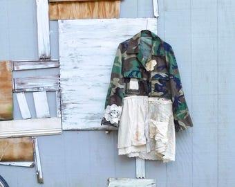 Duster Coat, Camo Jacket, Shabby Chic, Military, Reclaimed, Fall Fashion, Boho, Bohemian, Overcoat, Tunic, Gypsy, CreoleSha