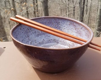 Handmade pottery bowl, ramen bowl with chopsticks, prep bowl, soup bowl,  serving bowl, hold 4 cups, FREE SHIPPING