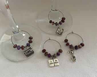 Reading Themed Wineglass Charms