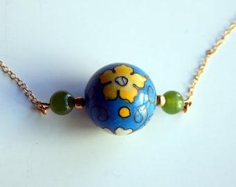 Vintage Cloisonne Jade 14K Yellow Gold Choker Necklace