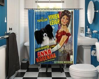 Papillon Dog Art Shower Curtain, Dog Shower Curtains, Bathroom Decor - Anna Karenina Movie Poster