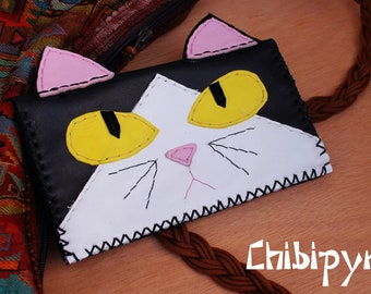 Handmade leather tobacco pouch tuxedo cat