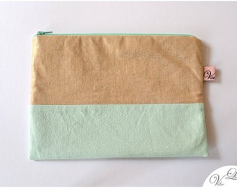 Beautiful clutch make up cosmetic toiletry bag pouch pencil case gift trend must have spring summer mint aqua gold metalic green