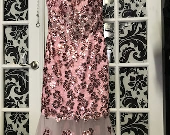 Pink sequined dress with detachable skirt