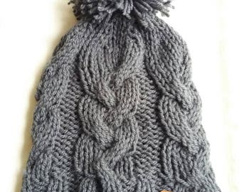 Hat has cable pattern