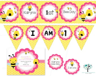 Girls Bumble Bee First Birthday Party Printable Set - Printable FILES