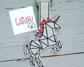 Unicorn Key Fob Snap Tab Embroidery Design 4X4 size
