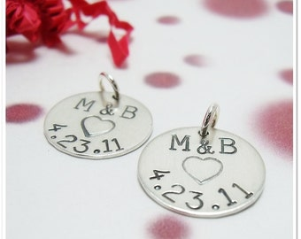 Personalized Wine Charms - Sterling Silver - Wedding Favors - Bridal Shower - Party Gifts