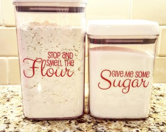 Sugar And Flour Canister Decals  Set Of 2 Kitchen Decals