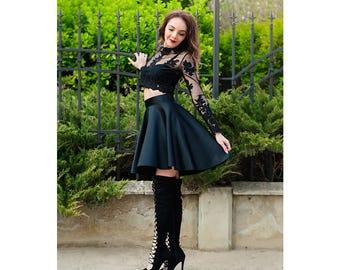 Asymmetric Skirt / High Waisted Skirt /  Womens Skirts / Circle Skirt / Elegant Skirt / Black Skirt / Flare Skirt / Satin Skirt