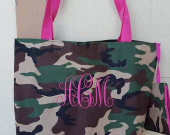 Monogrammed Camo Tote bag, Large 16 inch size, Velcro closure, small zipper pouch included, Pink or Green trim, Wipe clean material