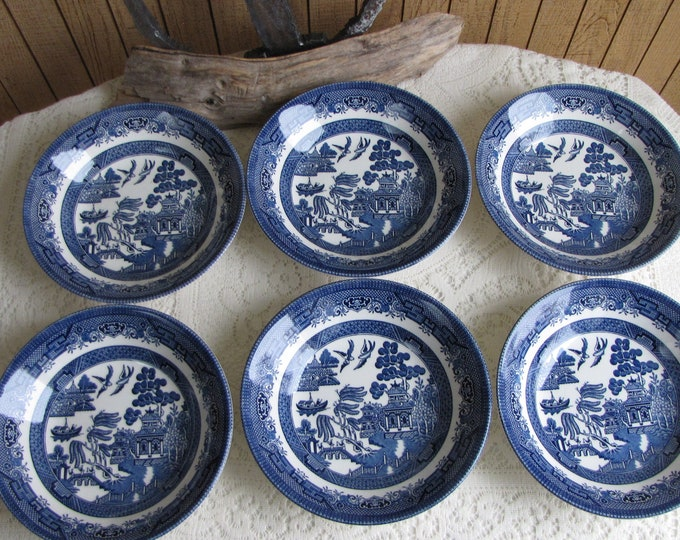 Blue Willow Ware Soup Bowls Made in England Set of Six (6) Vintage Dinnerware and Replacements