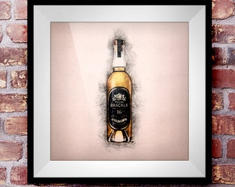 Royal Brackla 16 - Crosshatch Whisky Wall Art