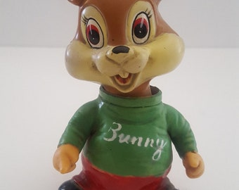 "Vintage 1950's wind up ""Bunny"" cheerleader toy, vinyl body and key, made by Alps of Japan"