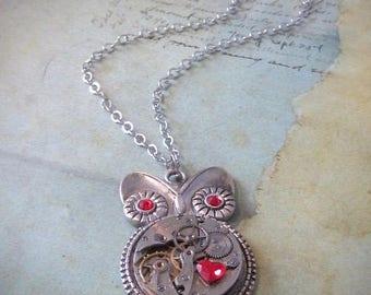 Steampunk Pendant - Who's Time - Steampunk Necklace - Owl Love pendant - Valentine