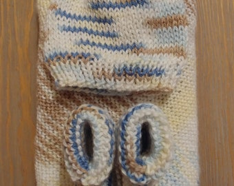 Jack and Jill - Knit Baby Blanket, Cap, and Bootie Set