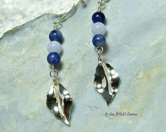 Gemstone Drop Earrings | Sodalite Earrings with Blue Lace Agate | Mum Earring Gift | Long Dangly Silver Leaf Earrings | A0118