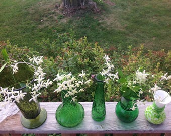Lot of Five Vintage Green Glass Vases Shades of Green