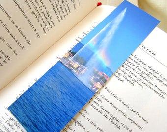 Jet d'Eau Rainbow Bookmark - Geneva, Switzerland travel photo, Geneva Lake fountain, European traveling, gift under 5, colorful page marker