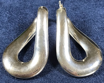 """1.25"""", vintage Sterling silver handmade earrings, puffy 925 silver twisted hoops, stamped 925 italy"""