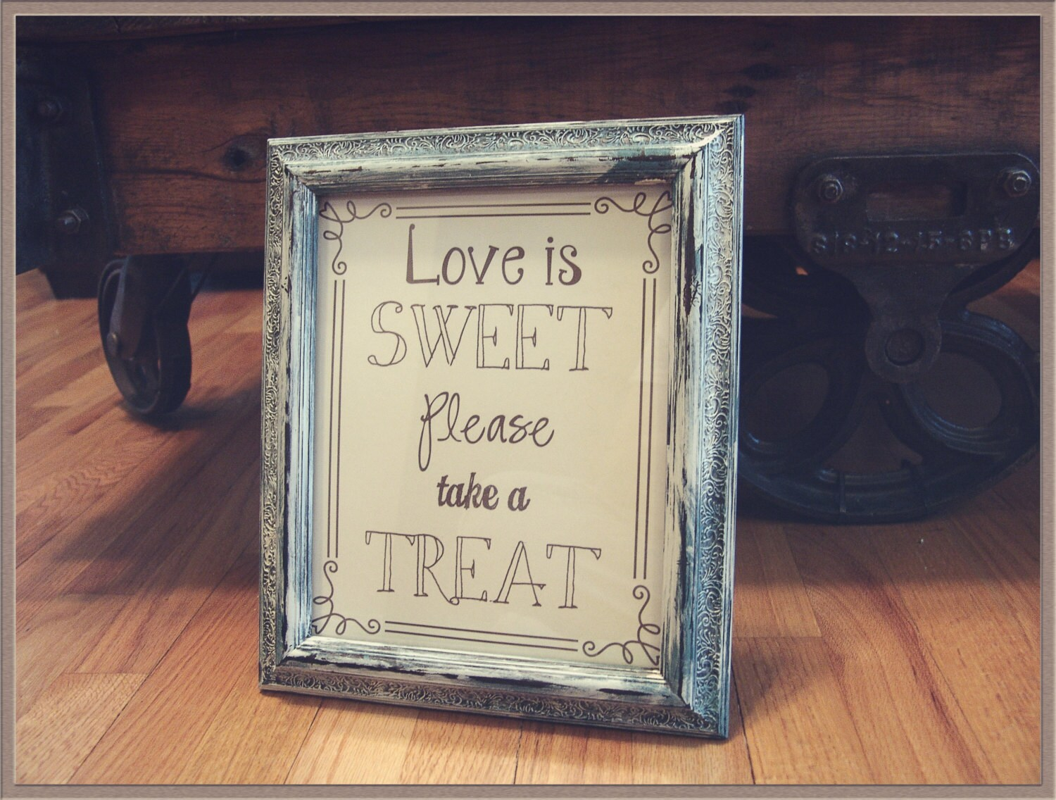 Love is Sweet Signdistressed framecandy bar signdessert