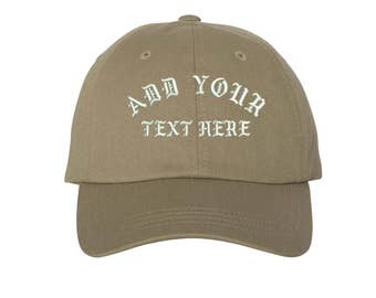 Custom Dad Hat Embroidered Dad Hat,YOUR TEXT HERE Kanye Custom Hat Personalized Baseball Cap,Choose Your Text,Custom Stitching, Khaki
