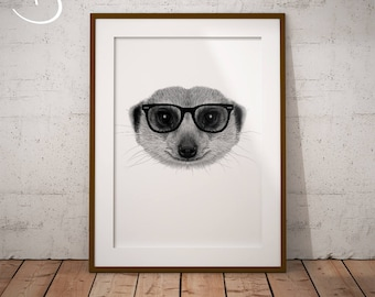 CUTE HIPSTER MEERKAT Drawing download, Wall decor, Hipster Meerkat Print, Printable Meerkat Poster, Meerkat Decor, Hipster Animal Print, Art