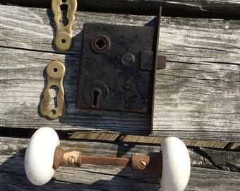 Vintage White Porcelain Door Knobs with Brass Faceplates, Lockset Doorknobs, Door Hardware, Architectural Salvage, Restoration Hardware