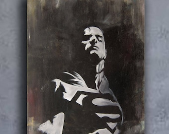 Superman painting. American comic art, superman oil painting,Henry Cavill