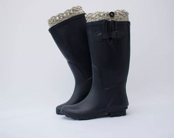 Lacy top boot cuffs