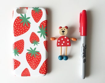 Erdbeeren iPhone X Fall / helle iPhone 8 Gehäuse / Beere iPhone 7 / iPhone 8 Plus / 7 Plus / iPhone 6/6 s / iPhone 5/5 s/SE, Samsung Galaxy