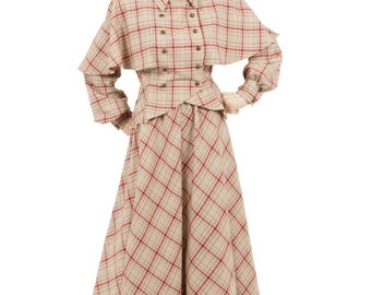 180500-180404 Victorian Plaid Cape Jacket and Skirt