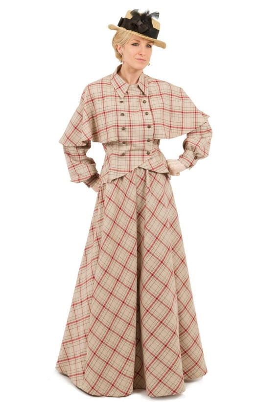 Victorian Dresses | Victorian Ballgowns | Victorian Clothing  Victorian Plaid Cape Jacket and Skirt $180.00 AT vintagedancer.com