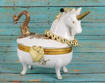 assemblage art, mixed media, unicorn, porcelain, found object,white,gold,porcelain trinket box,horse, fantasy,one of a kind,original artwork