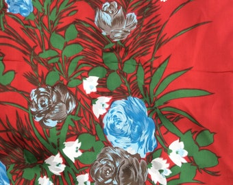 Floral Scarf - 1960s Floral Scarf - Floral Headscarf - Satin Floral Scarf - Red Floral Scarf - Flower Print Scarf - 60s Floral Scarf
