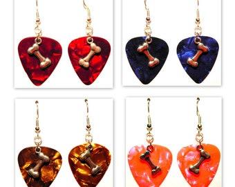 Dog Bone Charm Guitar Pick Earrings - Choose Color - Handmade in USA