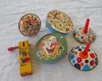Lot 6 Vintage Tin Noise Makers 1920s, 40s, 50s, 60s