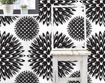Removable wallpaper/Wallpaper/Peel and Stick/Self adhesive wallpaper/Black and white/Creative patern S135
