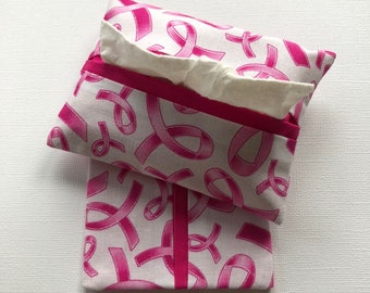 Purse Tissue Holders- Pink Ribbon Breast Cancer Fabric- Travel Tissue Holders- Pocket Tissue Holders- Purse Accessory- Tissue Packet Cover