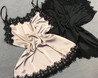 Silk top, Silk blouse, Silk camisole, Tank top, Lace blouse, Blush shirt, Sleeveless top, Summer top, Summer clothes, Boho top, Crop top