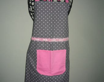 Apron - Gray with white polka dots and pink trim.