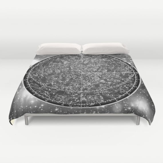 ZODIAC Map Duvet Cover, Vintage Map Bedding, Black White Map Bedspread, Decorative, Unique Design, Dorm bedding, Ancient Zodiac Map,Space