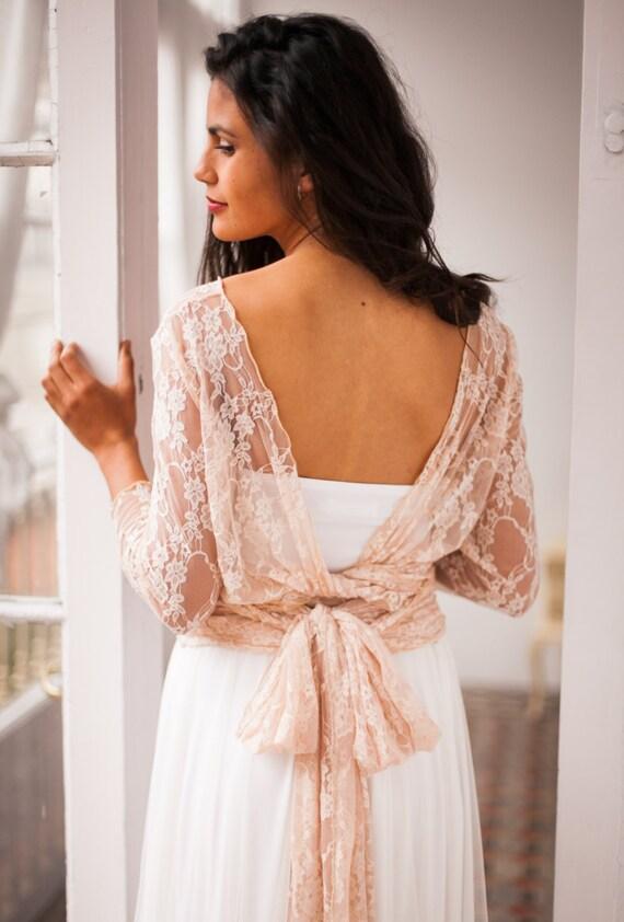 Open back bridal gown wedding dresses long sleeve wedding