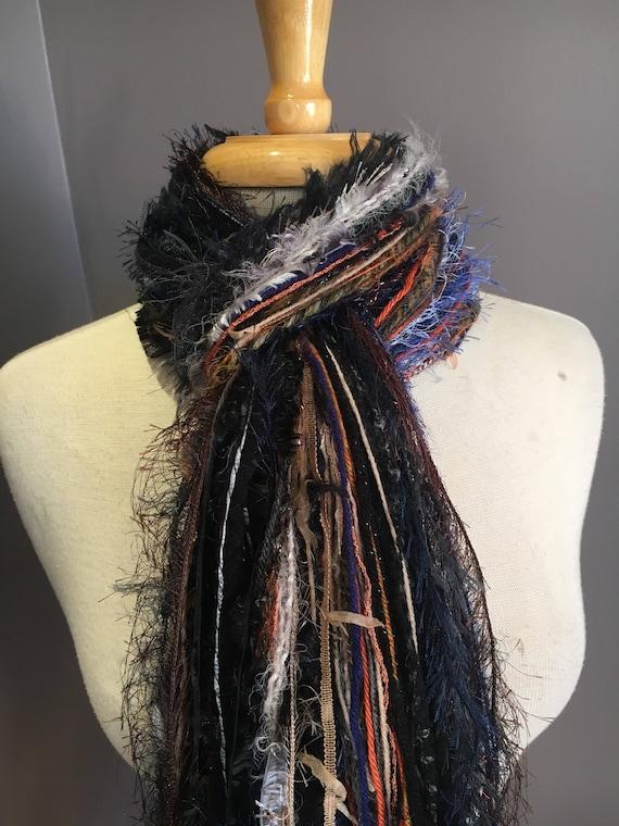 Fringie art yarn Scarf, Bon Jour, Knotted handmade Scarf, black blue rust fringe scarf, boho fashion, accessories, boho mode, artwear, long