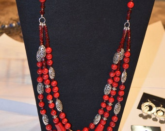 Necklace, Red dyed bamboo, silver and red glass beaded multi strand necklace