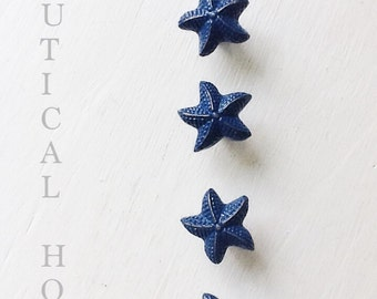 Starfish Drawer Knob In Distressed Nautical Blue-Metal-Seaside Cottage-Autumn Fall Trends-Coastal Bathroom-Beach House Kitchen-Ship